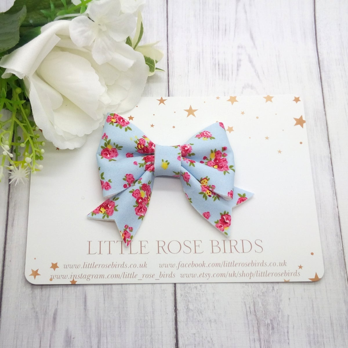 Image of Blue Fabric Floral Bow