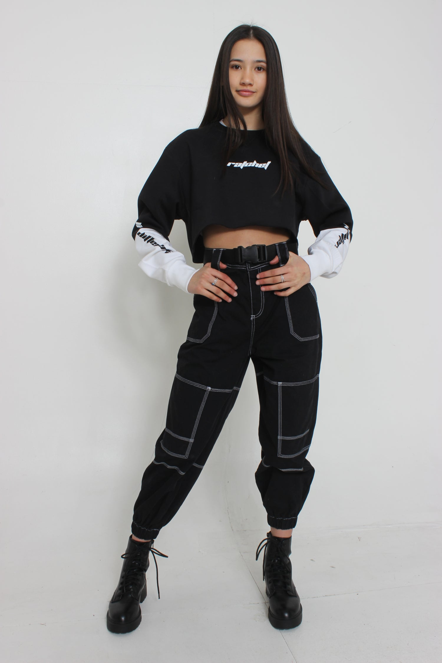Image of Black & White Crop Sweat