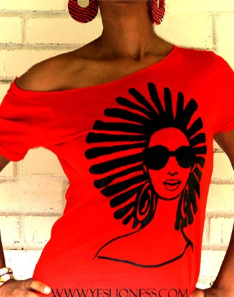 Image of The Afro Locs Wide Neck Scoop Neck in Red
