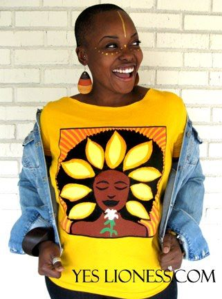 """Image of The """"Sunflower (Soulflower) Wide Scoopneck T-Shirt in Gold"""