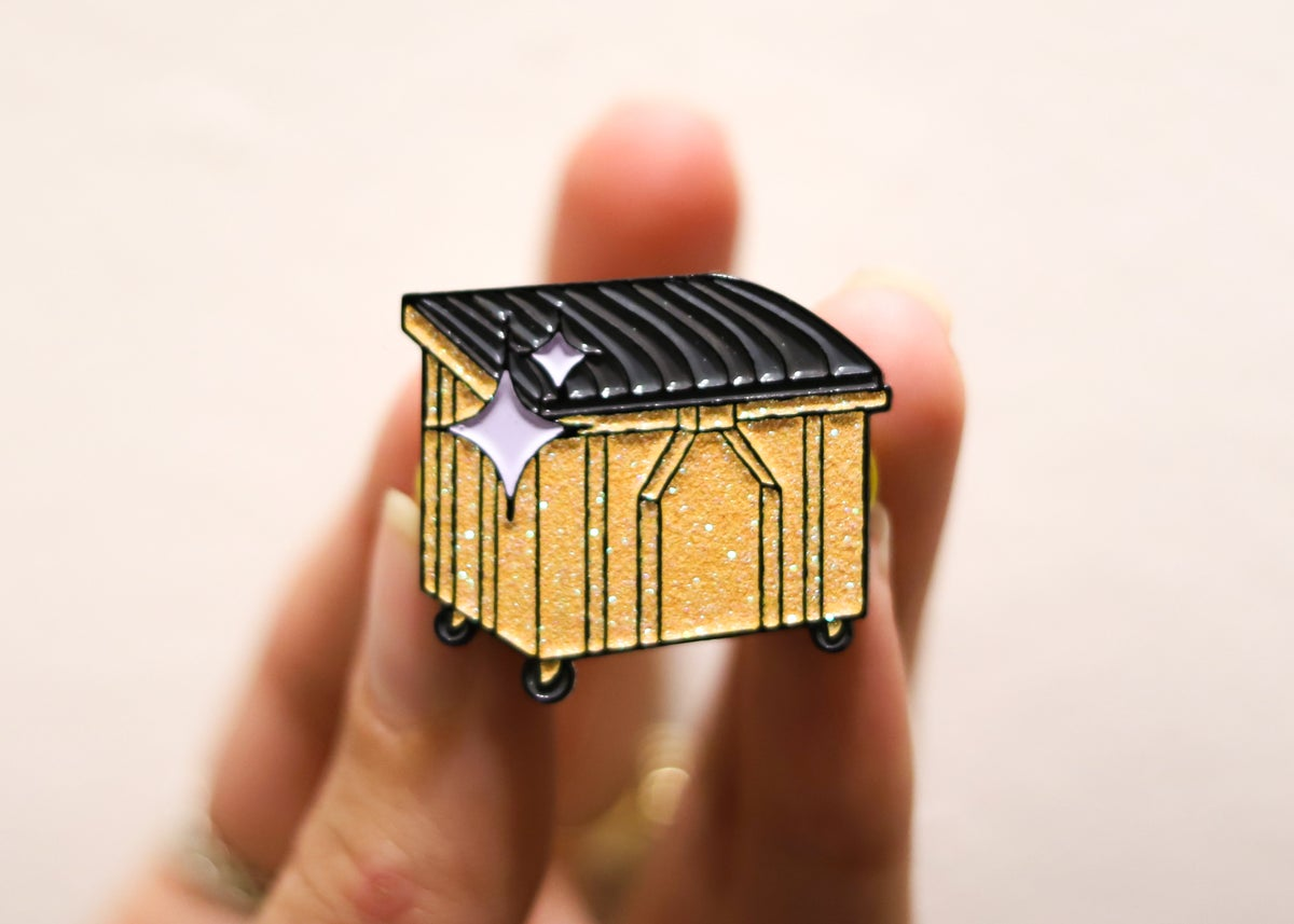 Golden Dumpster Enamel Pin