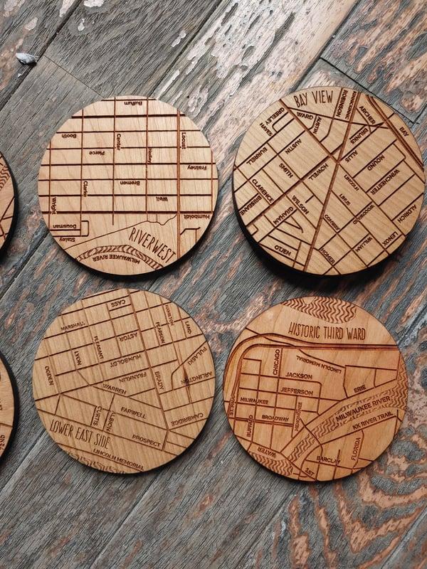 Image of Wooden Milwaukee Neighborhood Coasters