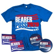 "Image of SHEER TERROR ""Bearer Poss 2020 - Fuck This Place"" Election Package T-Shirt, Stickers, Pins"