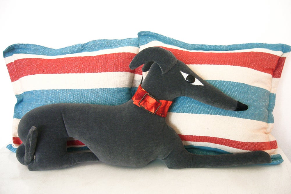 Image of Grey Greyhound Cushion