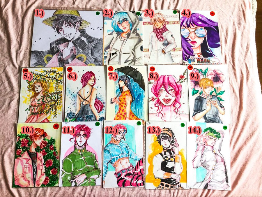 Image of [Original Art] One Piece,I7,JJBA,BTS, and Originals