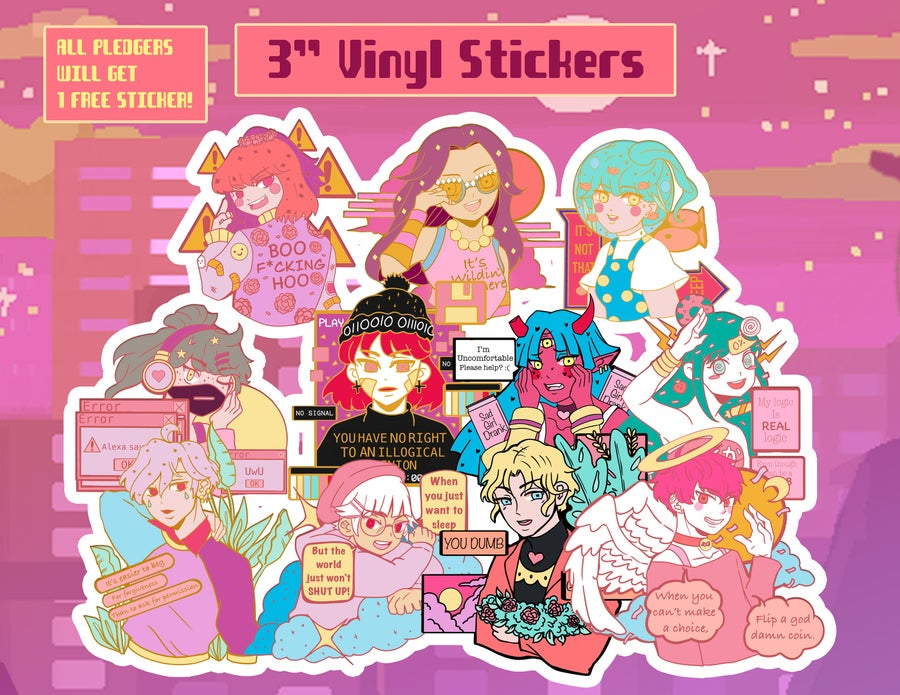 Image of Future Funk Scene Vinyl Stickers