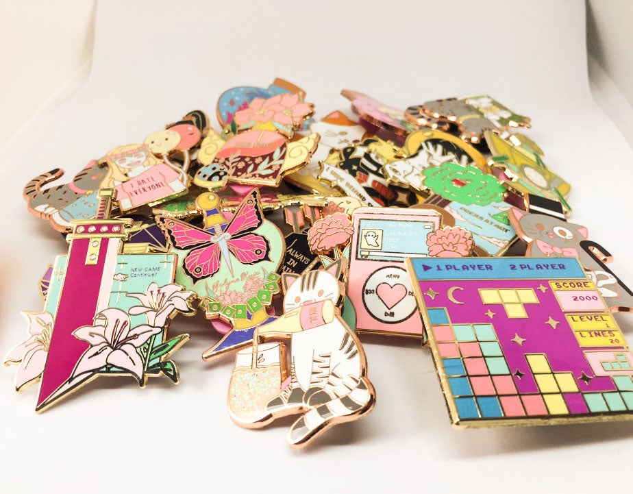 Image of SECONDS/B-GRADE ENAMEL PINS SALES!!!! JJBA,MOOD,CATS,NOSTALGIC GAMES, AND MORE!