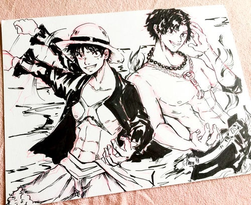 Image of [Original Art] One Piece Ace and Luffy