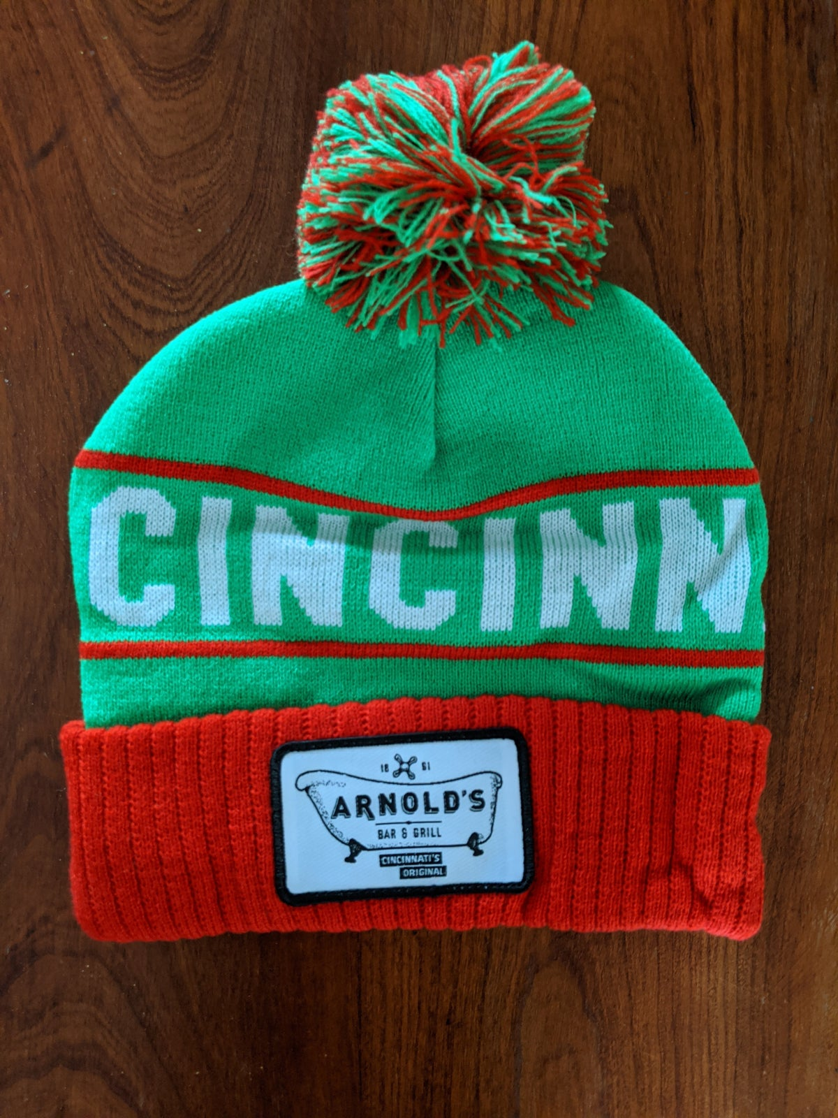 Green and Red Holiday Beanie
