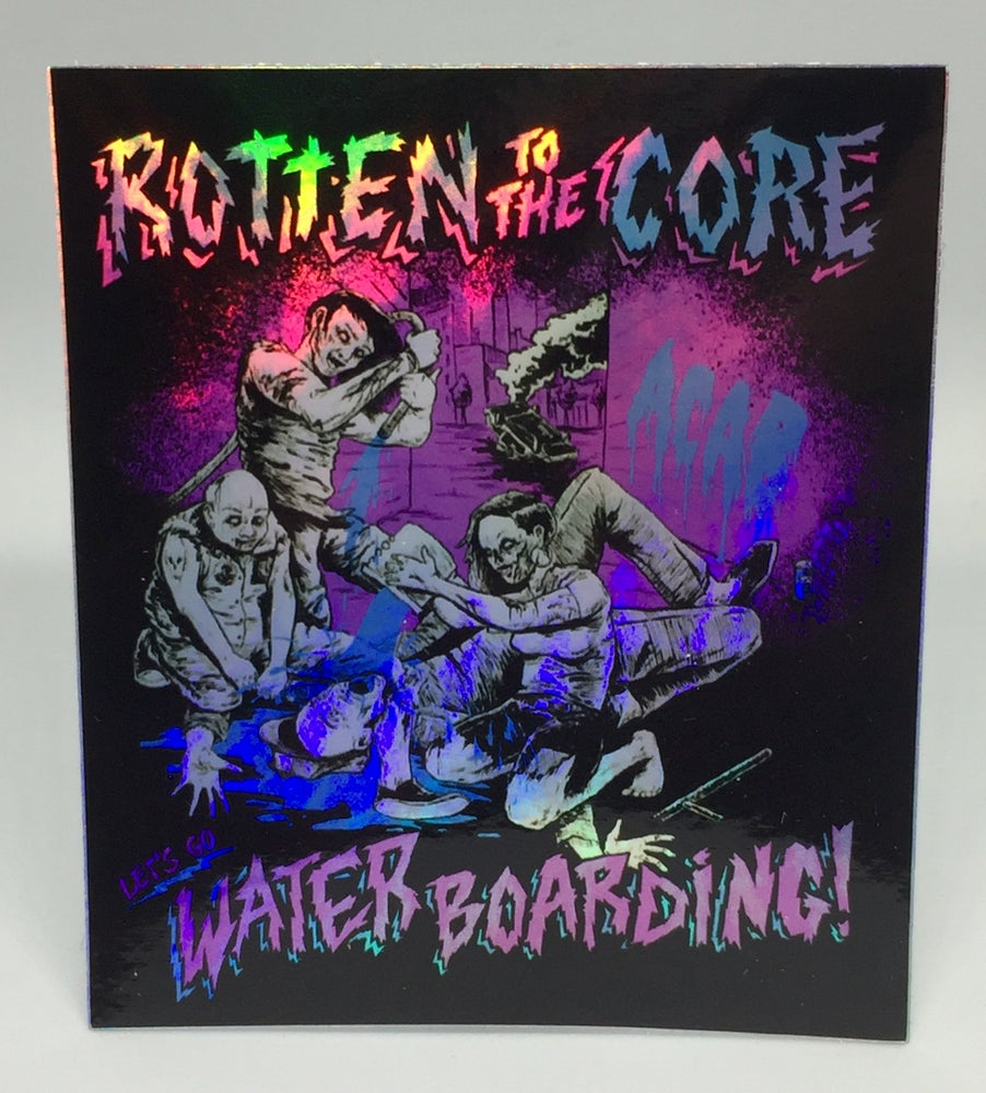 "Image of Rotten To The Core Records ""Let's Go Water Boarding"" Sticker"