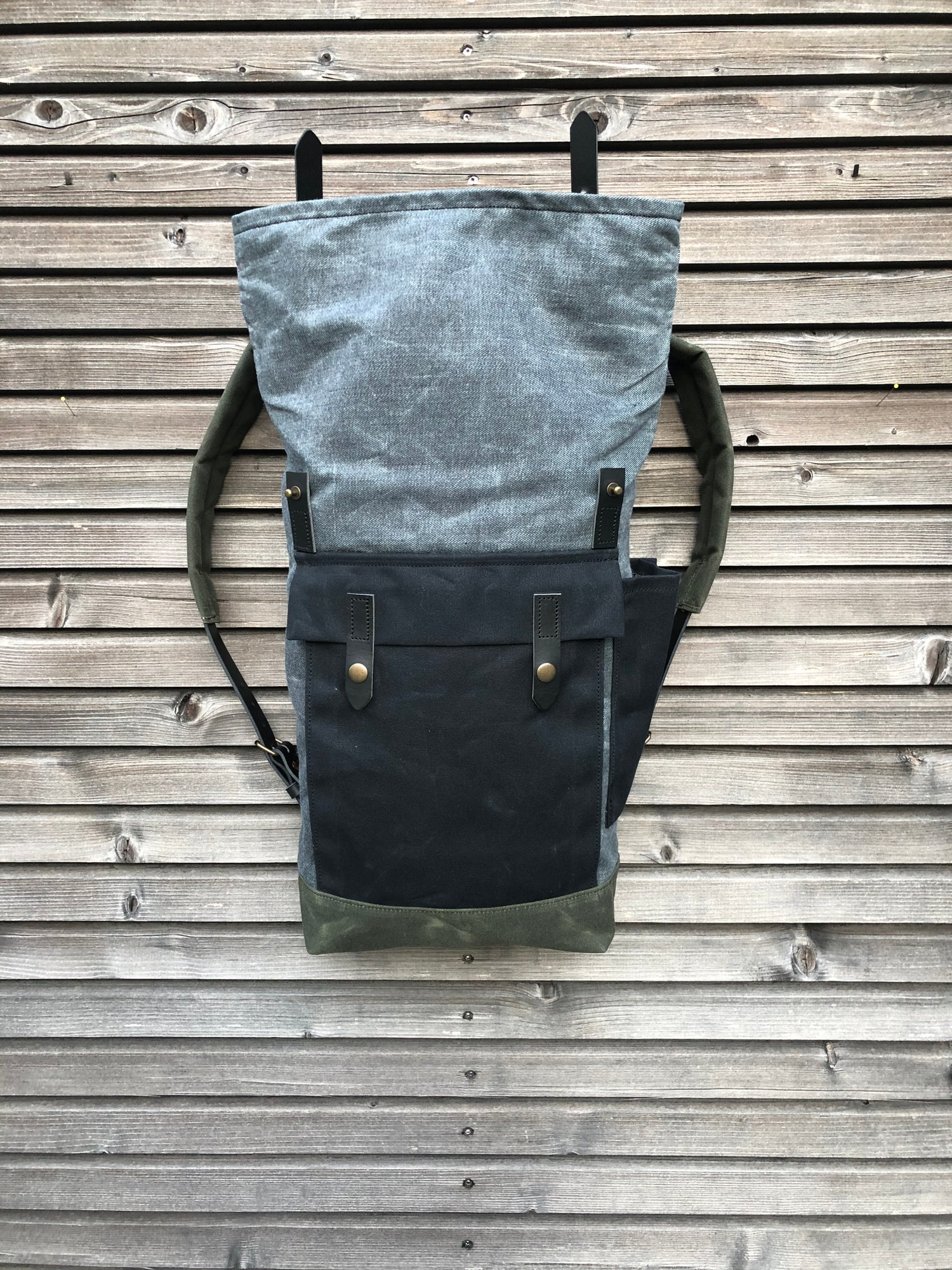 Image of Backpack in waxed denim leather Backpack medium size / Commuter backpack / Hipster backpack