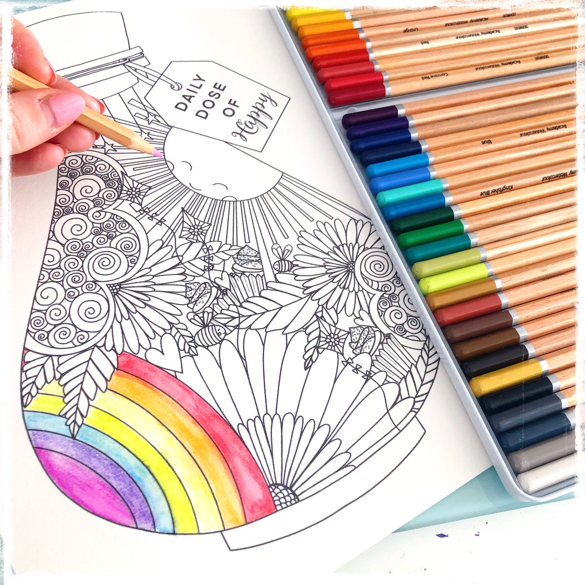Image of Daily Dose of Happy DIGITAL Colouring Page