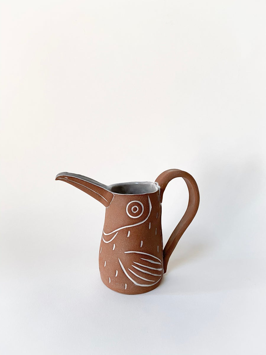 Image of Medium Red Toucan Pitcher with Handle