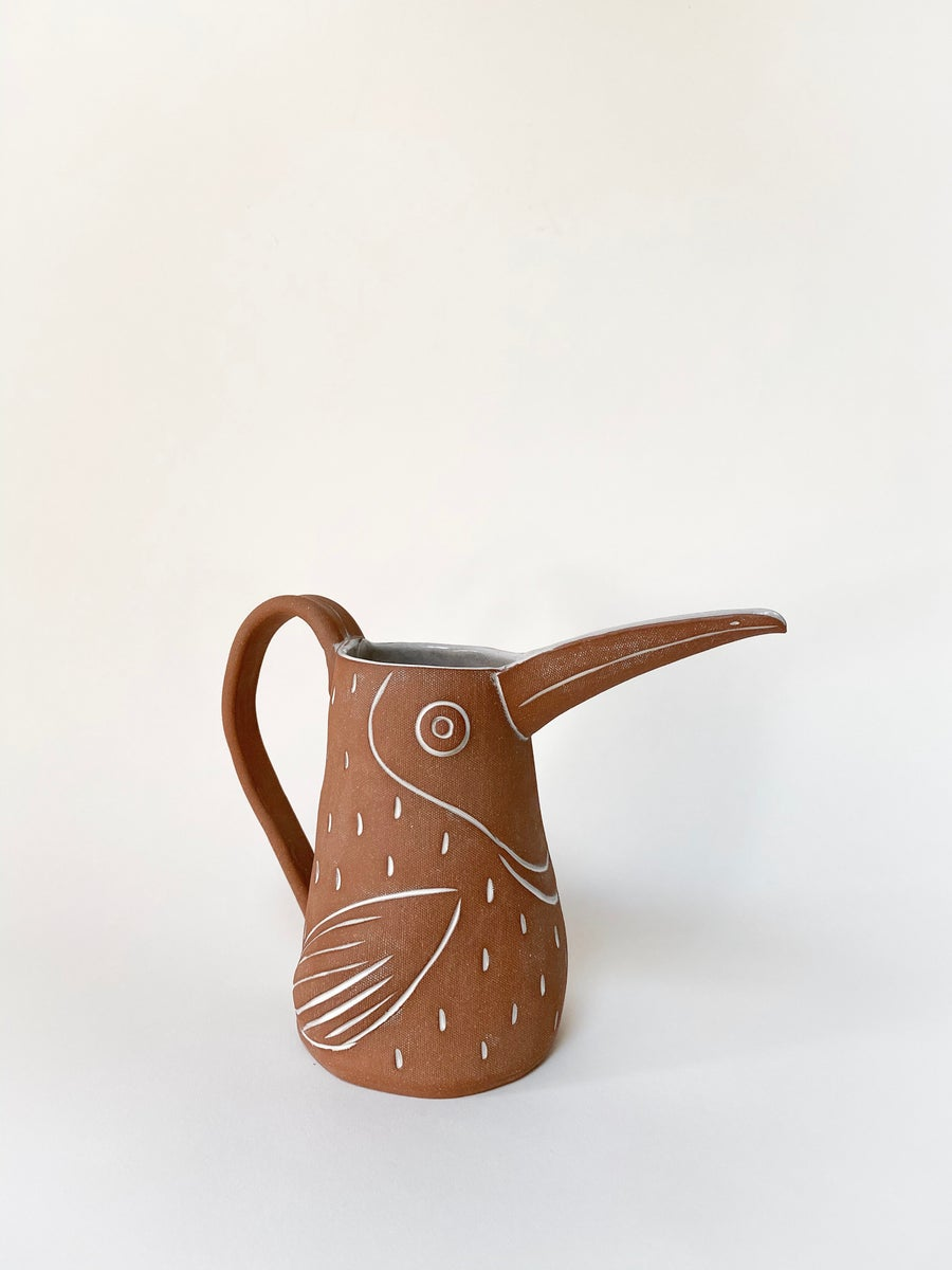 Image of Large Family Size Red Toucan Pitcher