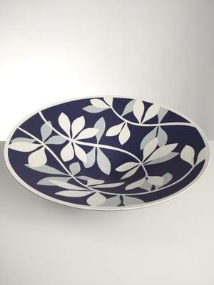 Image of Large Purple, Grey & White Leaf Bowl