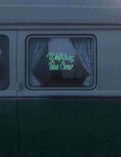Image of Wolfsburg Bus Crew Glow in the Dark Large Logo or Large Windscreen Script Sticker