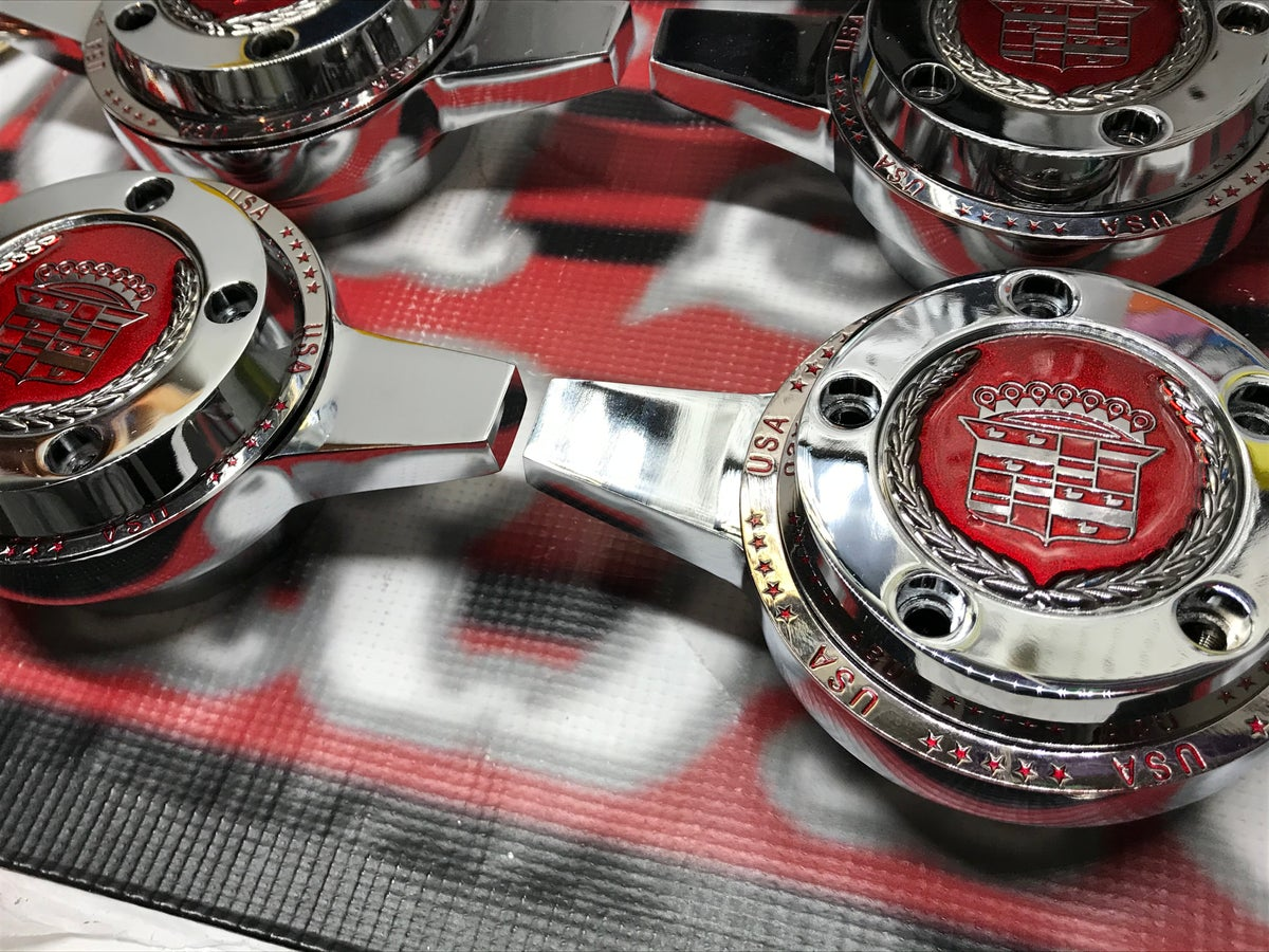Image of Candy red Cadillac chips & rings heavy duty k/o spinners.