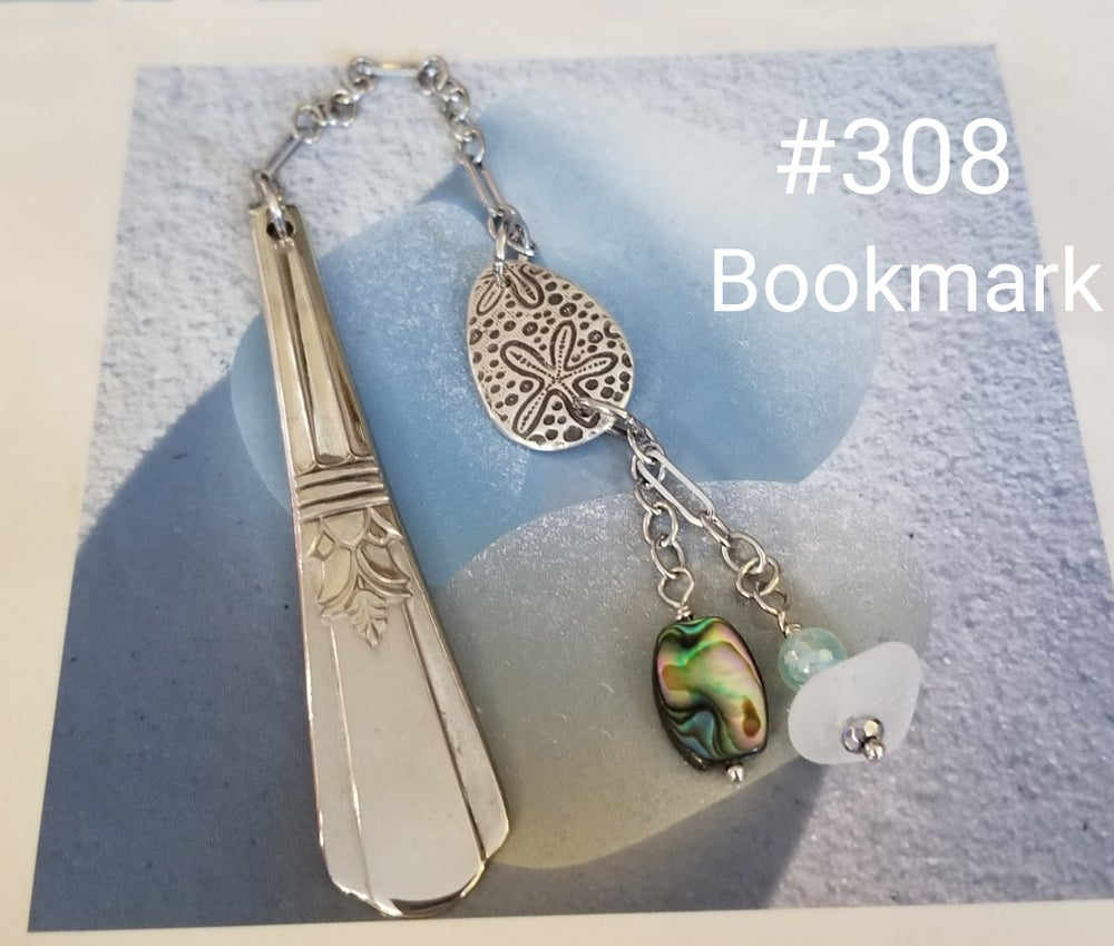 Image of Bookmark- Fine Silver- Sea Glass- Vintage Flatware- #308