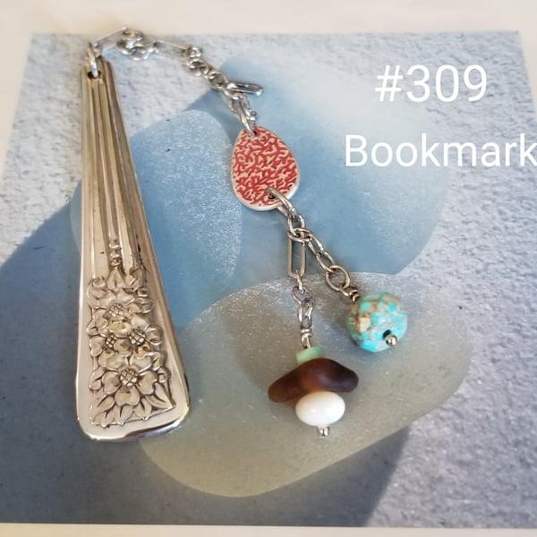 Image of Bookmark- Seal Glass-  Fine Silver- Sea Glass- Turquoise- M.O.P.- #309