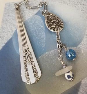 Image of Bookmark- Sea Glass-  Fine Silver- Vintage Flatware- Agate- #310