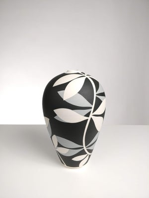 Image of Medium Black, Grey & White Leaf Vessel