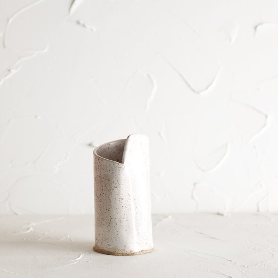 Image of Satin white speckled vase