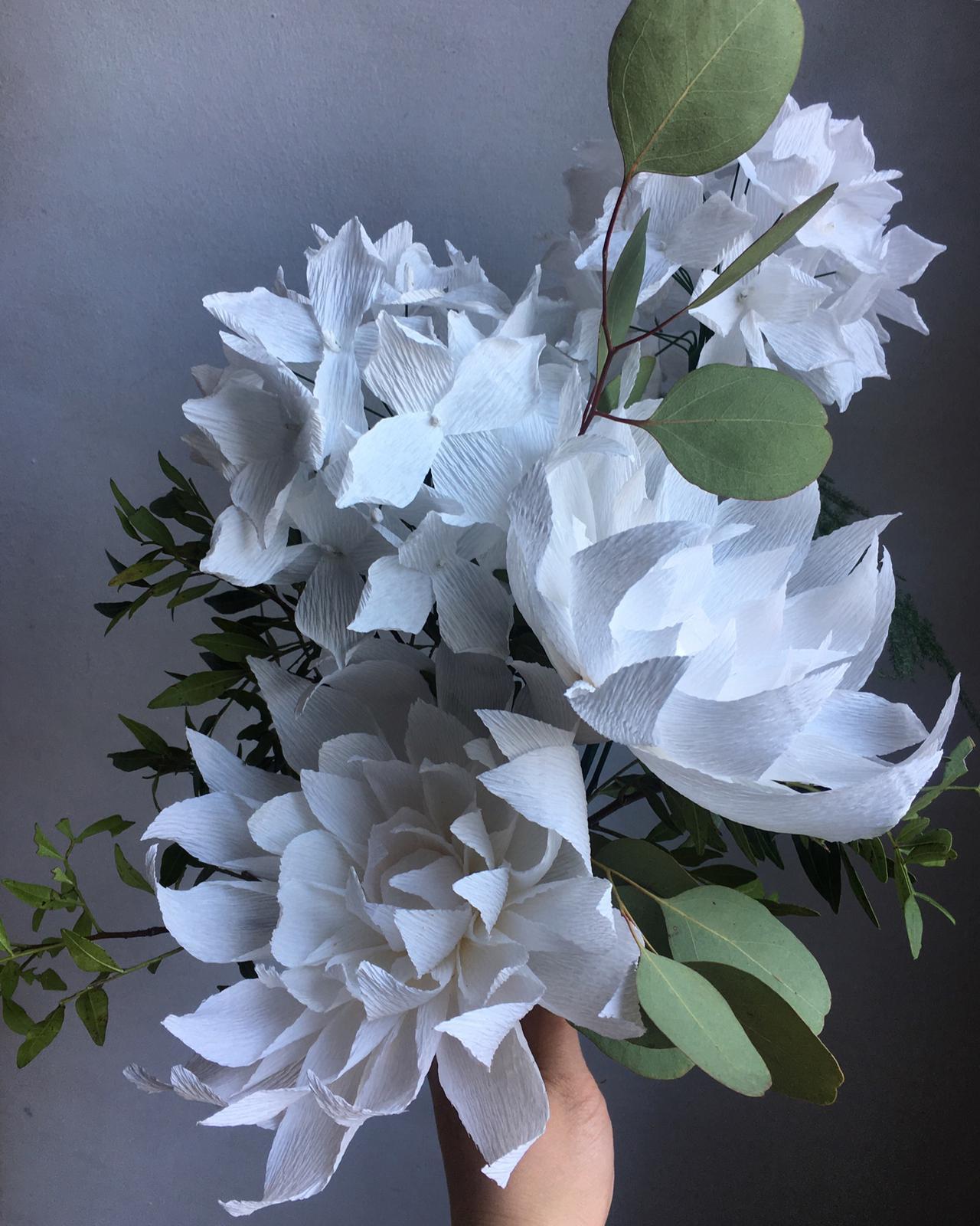 Image of Dahlia and Hydrangea Bouquet - White