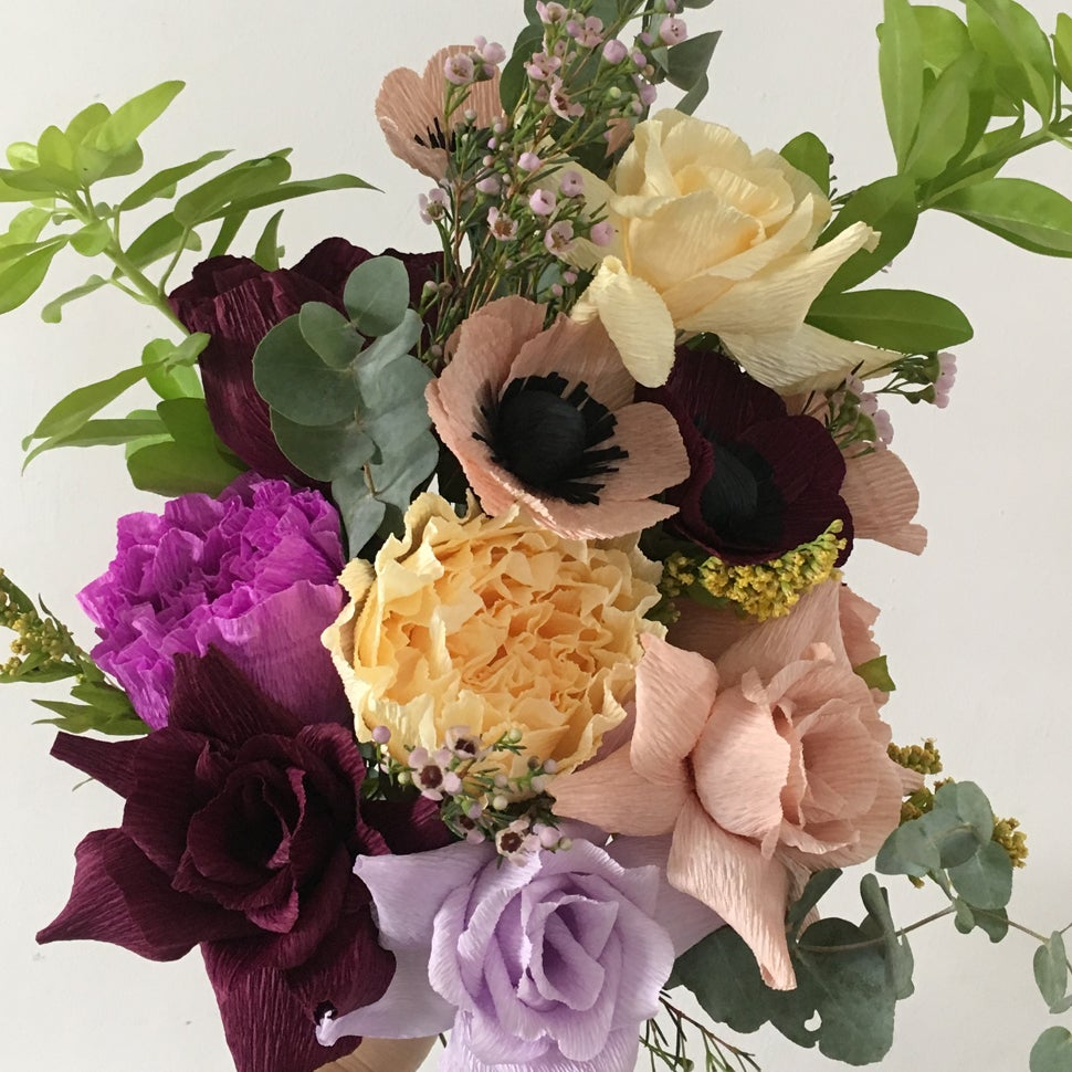 Image of Late Summer Bouquet - Anemones, Roses & Peonies