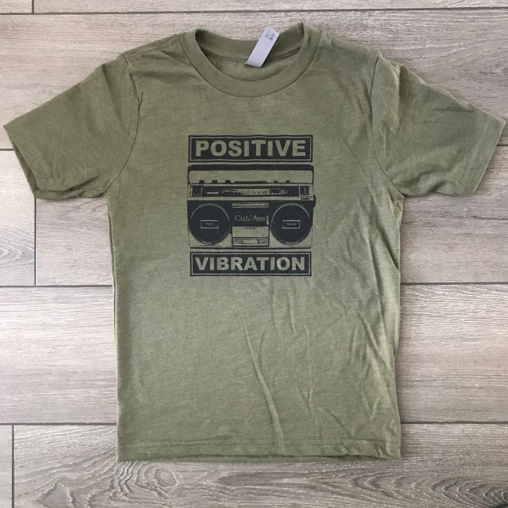 Image of ***NEW*** Kids Positive Vibration 2 Military Green Shirt