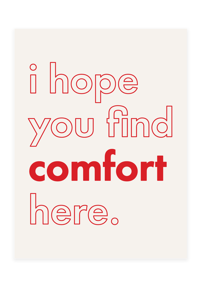 Image of 'comfort' screen print