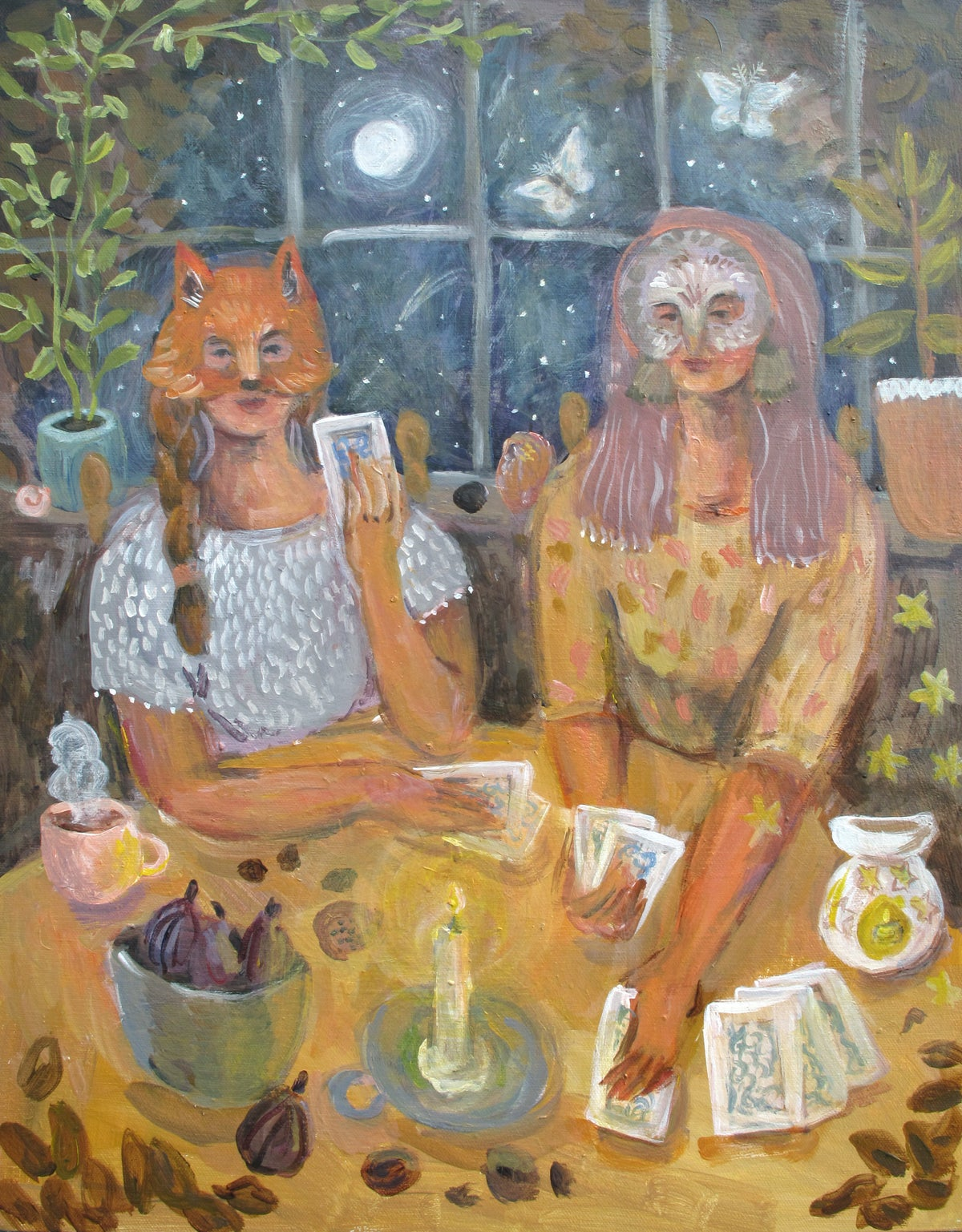 Image of Lady Fox and Sister Owl | 16x20 Original acrylic on canvas