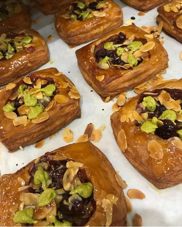 Image of 2 Cherry and Pistachio Danishes