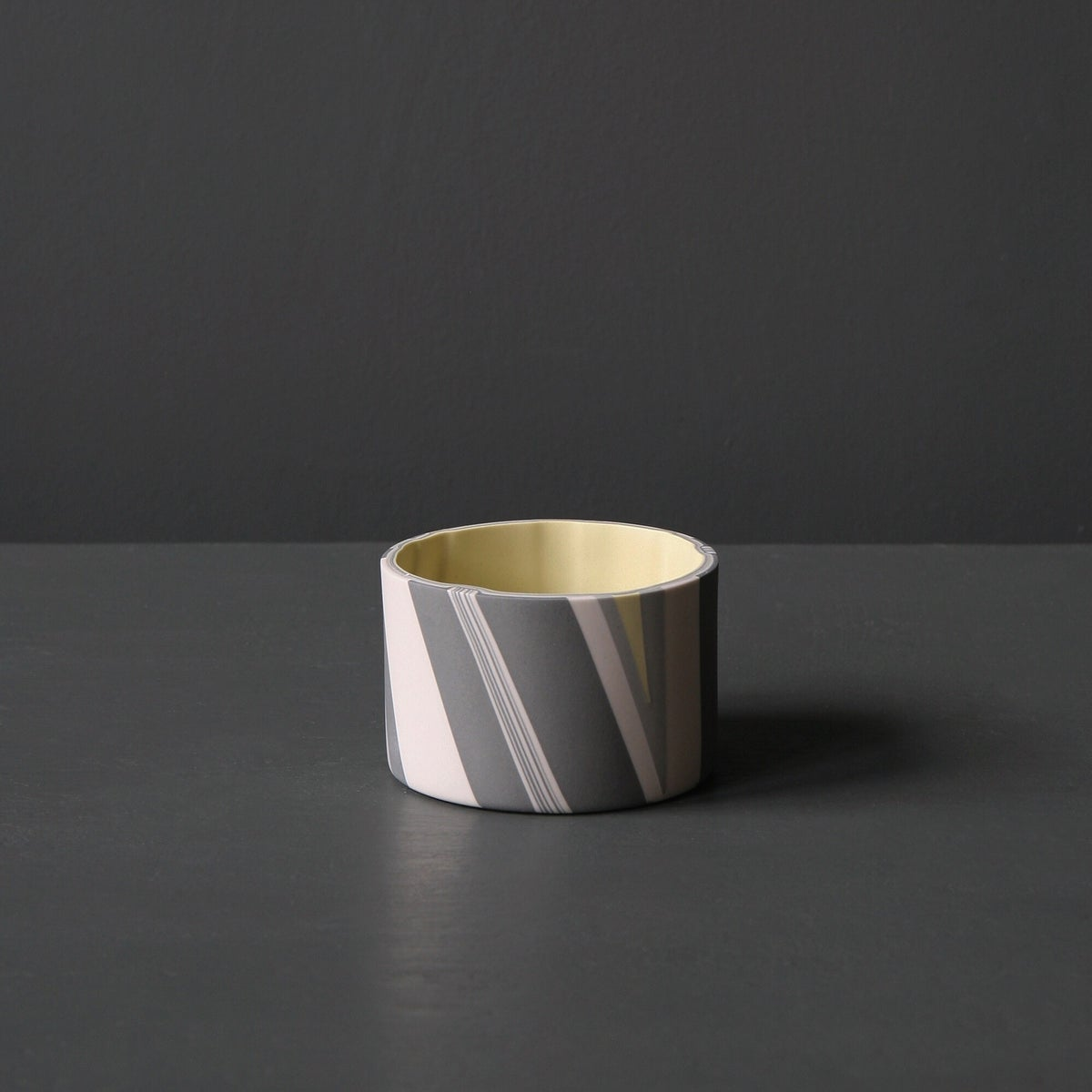 Image of Medium Inlay Detail Vessel, Yellow and Greys, with yellow interior.