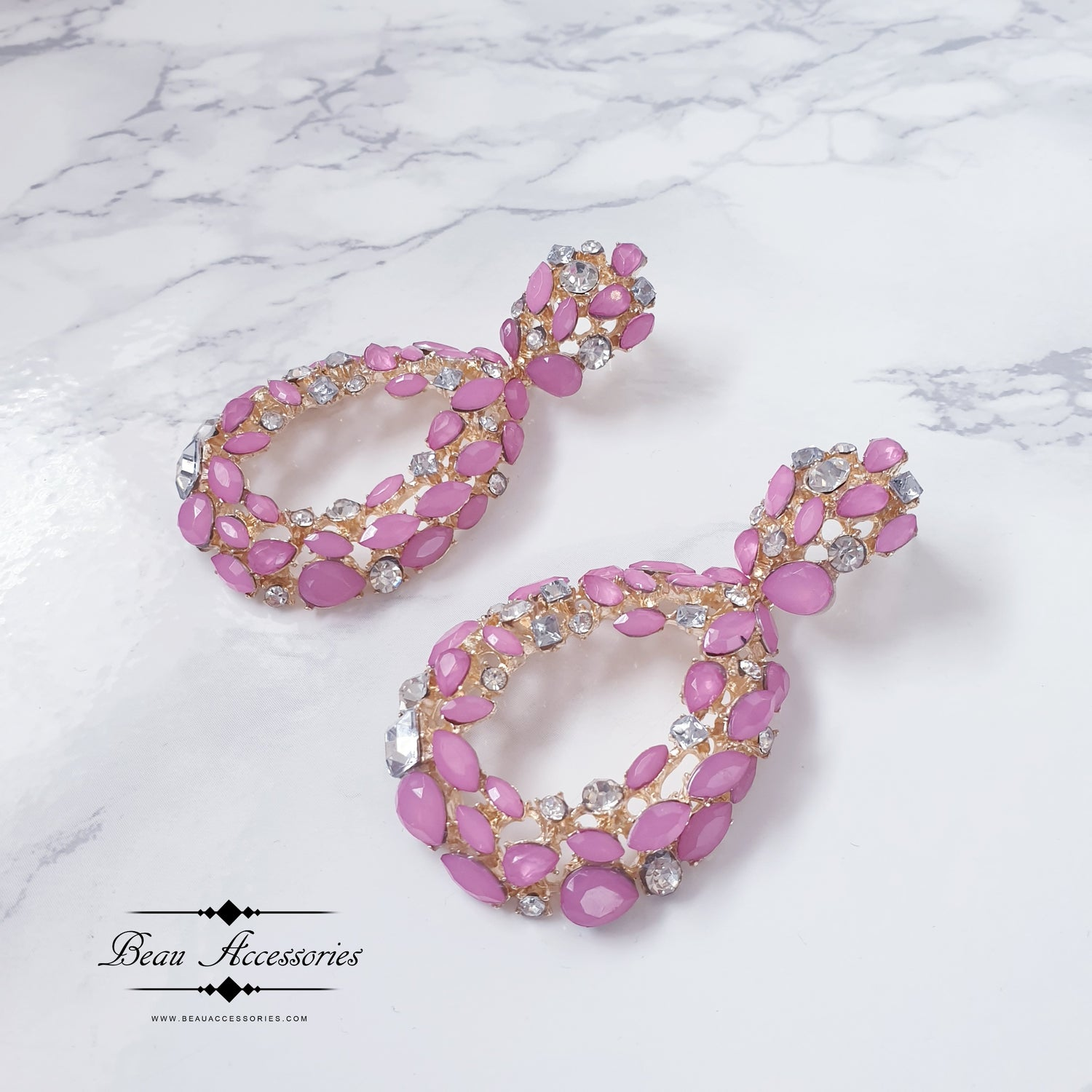 Image of Candy Pink Oval Drop Crystal Earrings