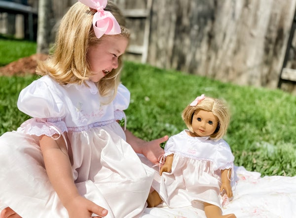 Image of Custom Satin Batiste American Girl Doll Dress
