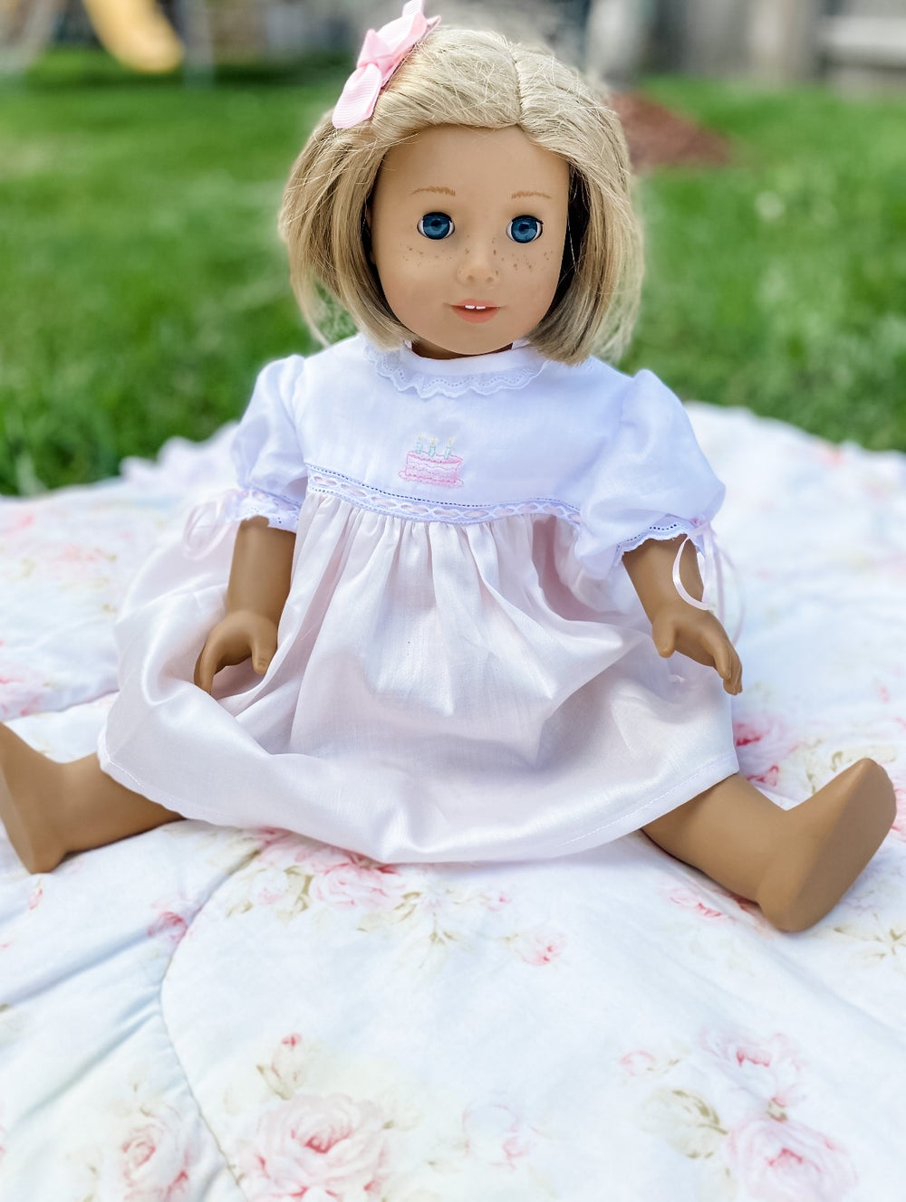 Image of Custom Satin Batiste American Girl Doll Dress