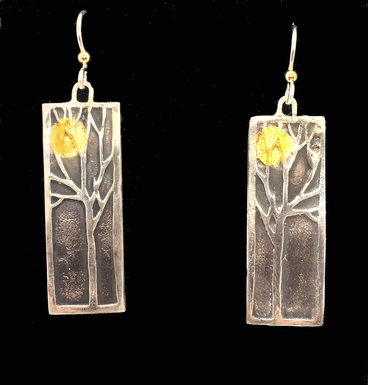 Image of Tree earrings with 24K moons (or suns, you decide)