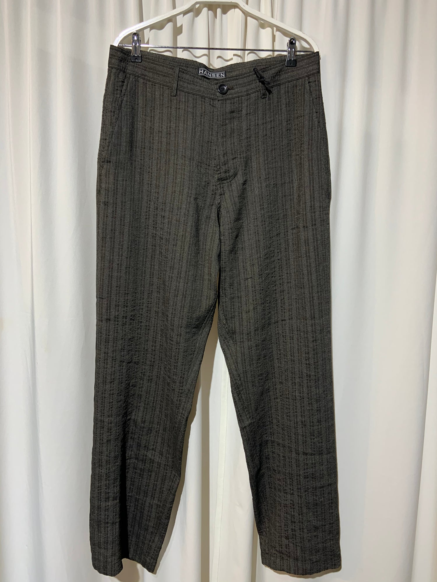 Image of HANSEN GARMENTS Trousers Ken taupe stripes