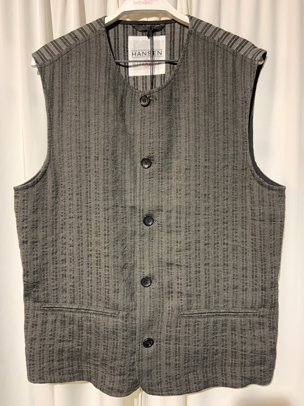Image of HANSEN GARMENTS Waistcoat Ben taupe stripes