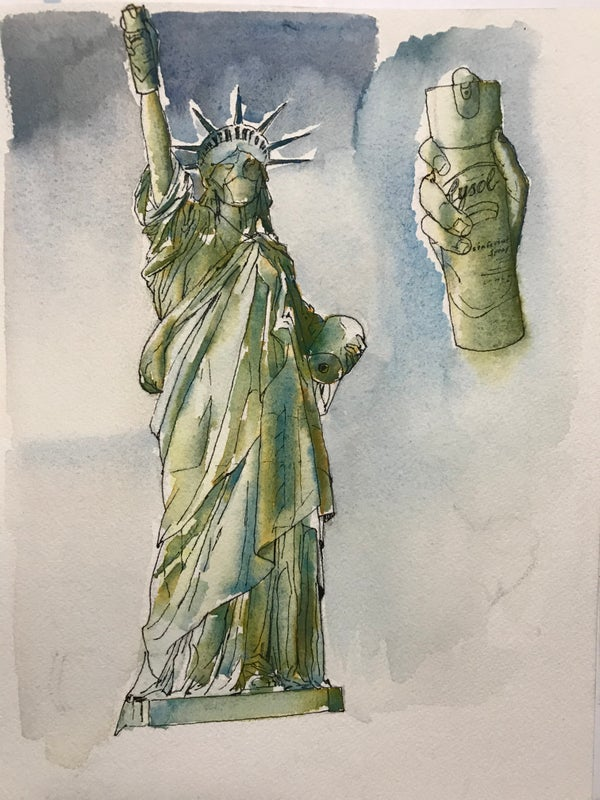 Image of COVID-19 Statue of Liberty - Print