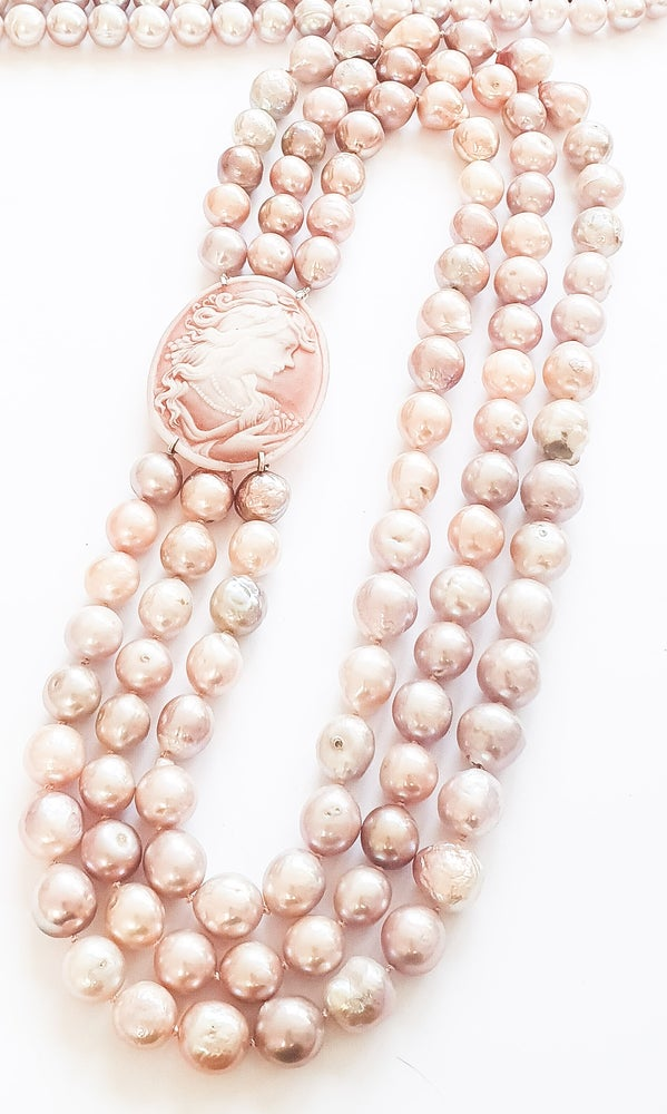 Image of 3 Row Pink Pearl and Cameo Necklace