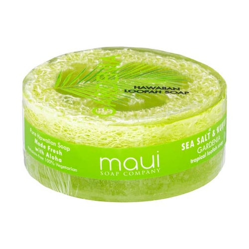 Image of Gardenia Sea Salt & Kukui Exfoliating Loofah Soap 4.75oz- Maui Soap Co.