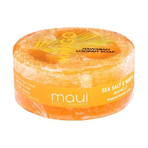 Image of Mango Sea Salt & Kukui Exfoliating Loofah Soap 4.75oz- Maui Soap Co.