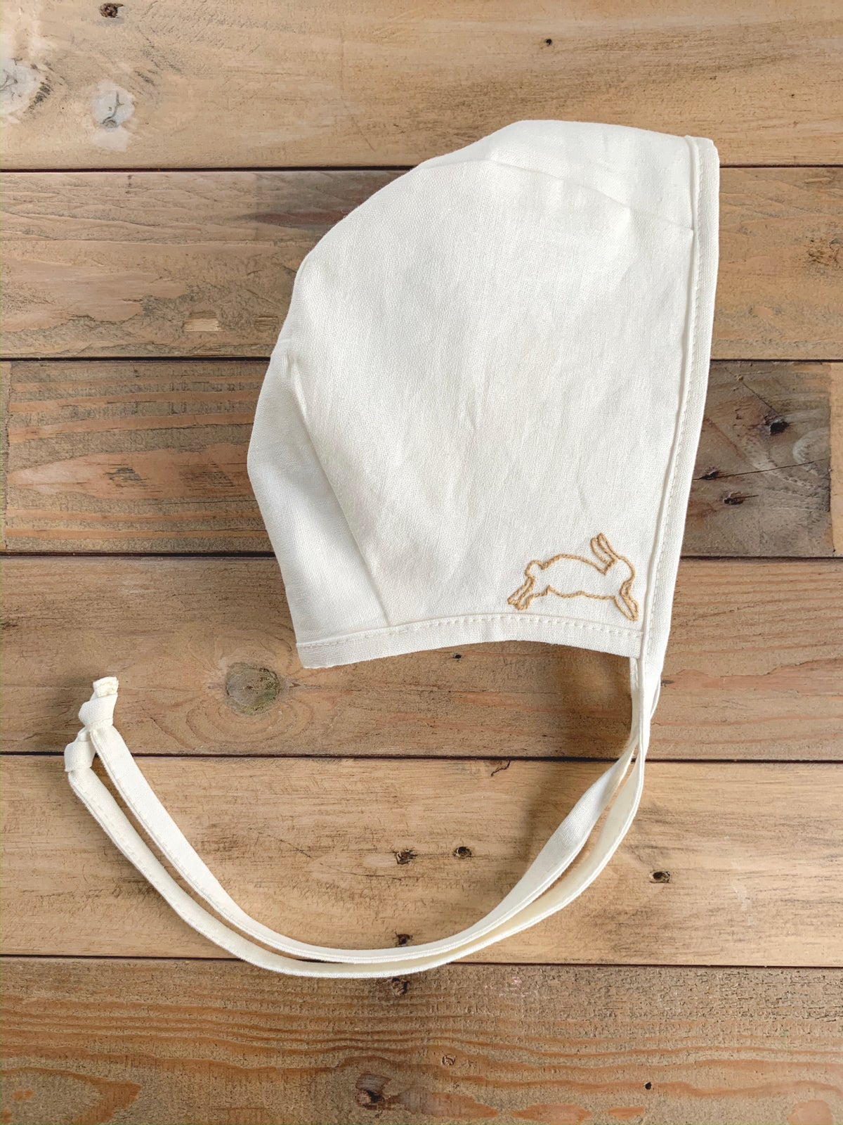 Image of Leaping Rabbit | Embroidered Bonnet