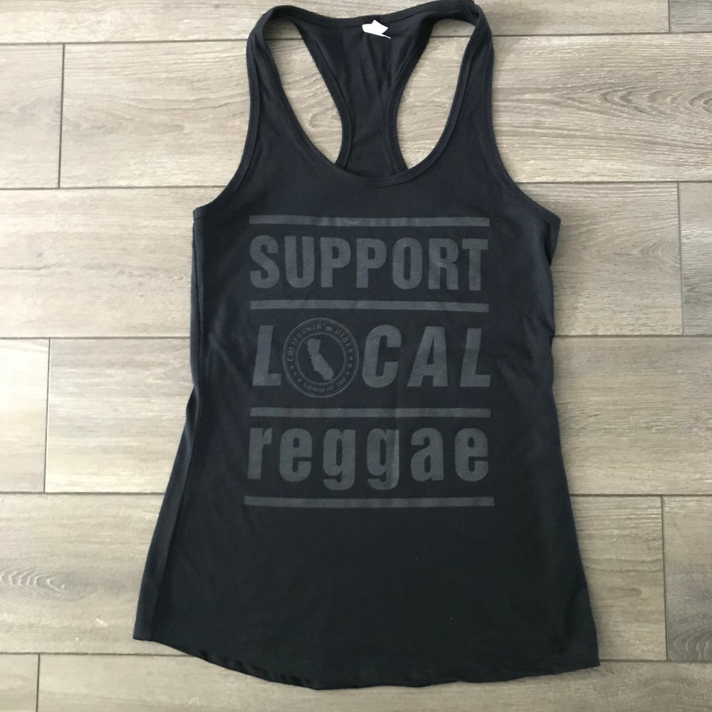 Image of Support Local Reggae Blackout Womens Tank Top