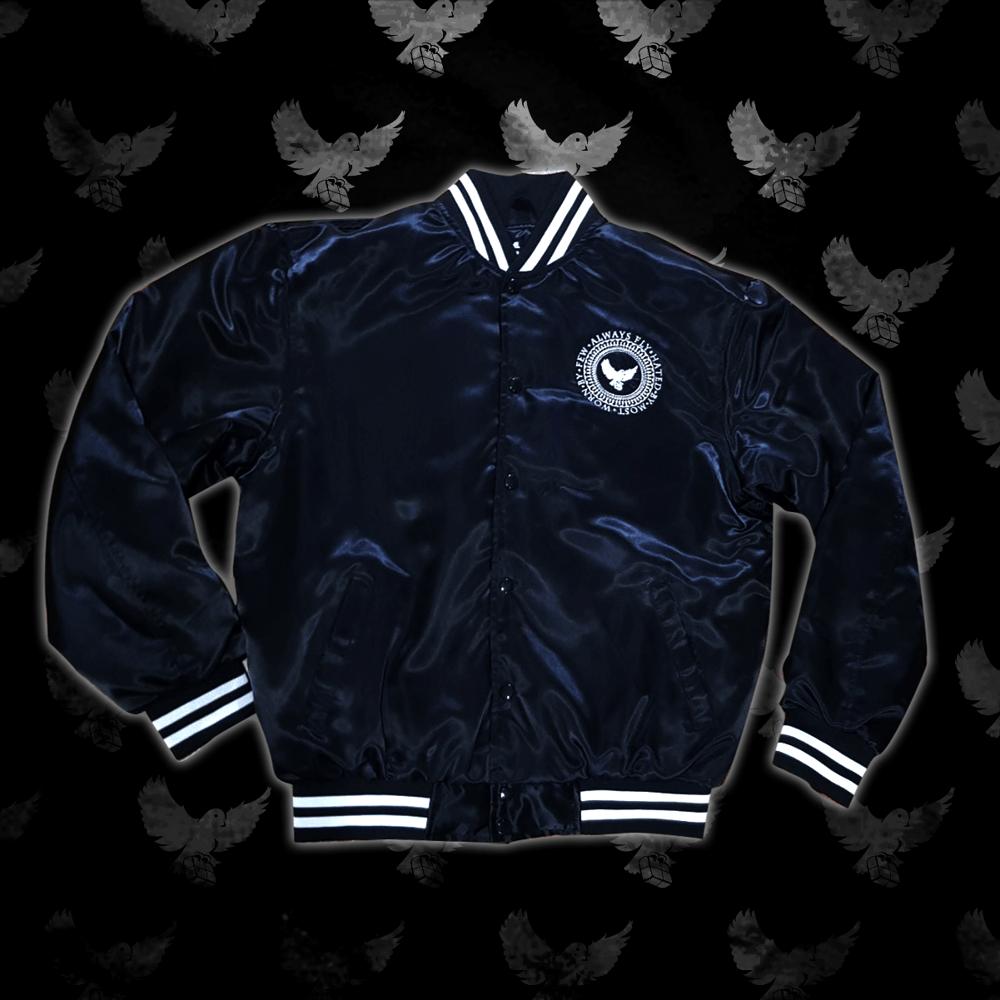 Image of Black/White Satin Bomber Jacket