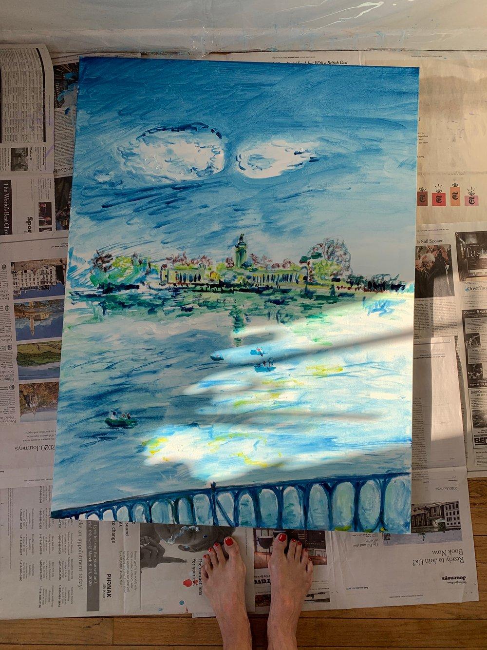 """Image of Estanque del Retiro 30"""" x 40"""" painting"""