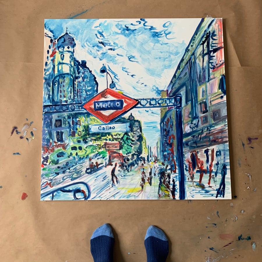 "Image of Callao Madrid 30"" x 30"" painting"