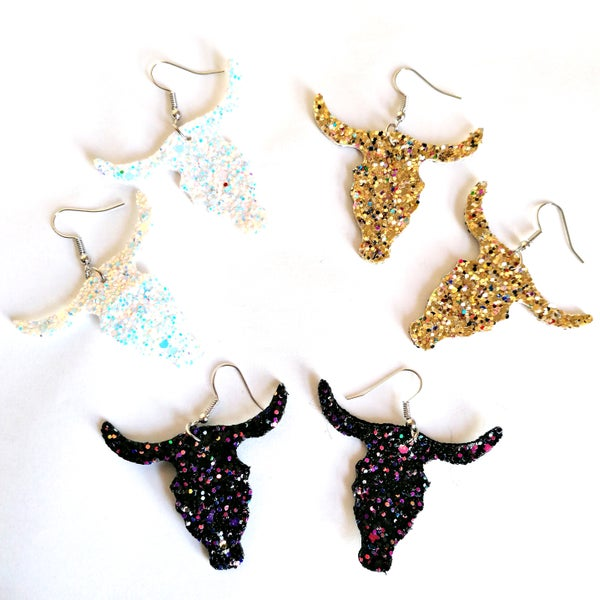 Image of Glittery Bull Skull Earrings