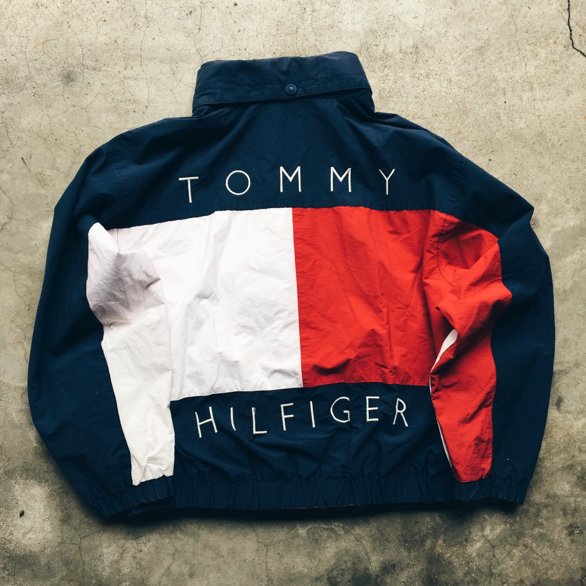 Image of Original 90's Tommy Hilfiger Big Flag Reversible Jacket.